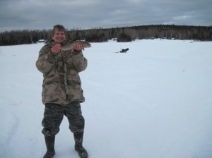 Bill Goodman caught this 18 inch Brook Trout on March 7, 2013. Big Machias Camps are at top right of picture.